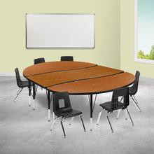 """86"""" Oval Wave Collaborative Laminate Activity Table Set with 12"""" Student Stack Chairs, Oak\/Black"""