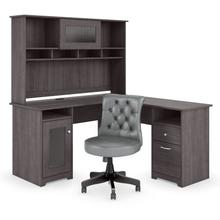 Cabot 60W L Shaped Desk with Hutch and Mid Back Tufted Office Chair - Heather Gray