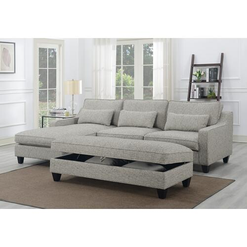 Emerald Home U4539-22-09 Kenya Ottoman, Tweed Gray
