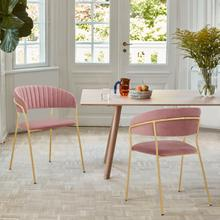 Nara Modern Pink Velvet and Gold Metal Leg Dining Room Chairs - Set of 2