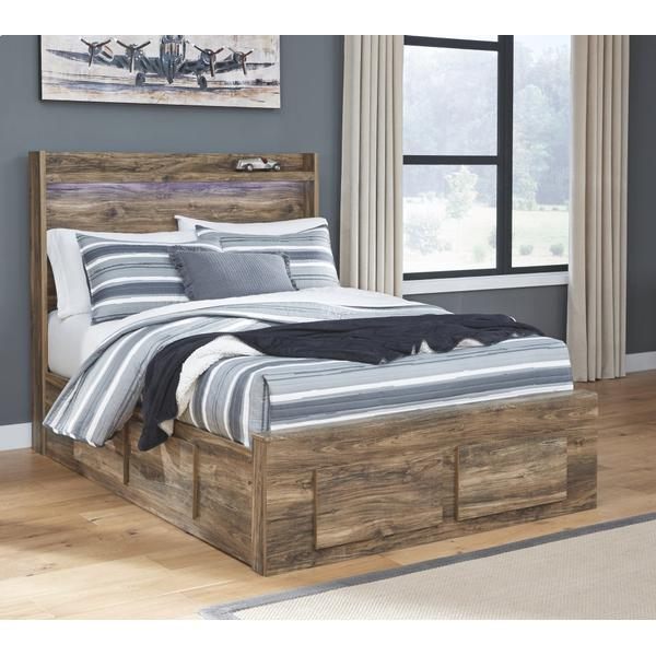 Rusthaven Full Panel Bed With 6 Storage Drawers