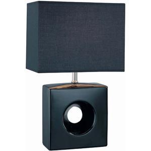 Table Lamp, Black Ceramic Body/blk Fabric Shd, E27 Cfl 13w