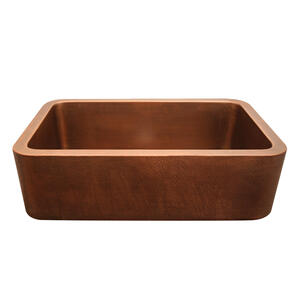 """Copperhaus rectangular undermount sink with a smooth or hammered front apron and a 3 1/2"""" center drain - 14 gauge copper sink. Product Image"""