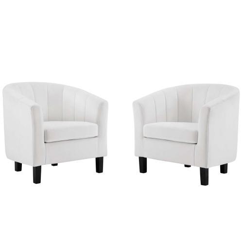 Prospect Channel Tufted Performance Velvet Armchair Set of 2 in White