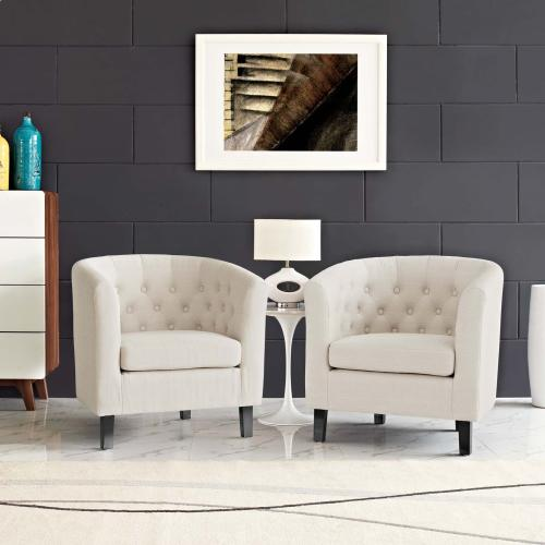 Prospect 2 Piece Upholstered Fabric Armchair Set in Beige