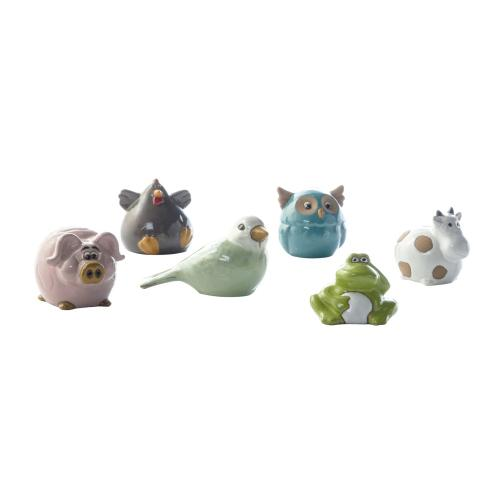 Small Ceramic Animal Assortment (6 animals/4pcs each/Total assortment of 24 pcs)