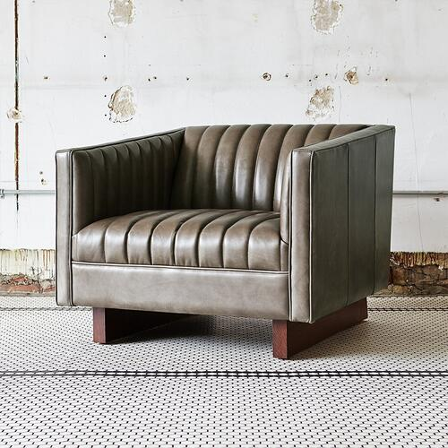 Wallace Chair Saddle Grey Leather