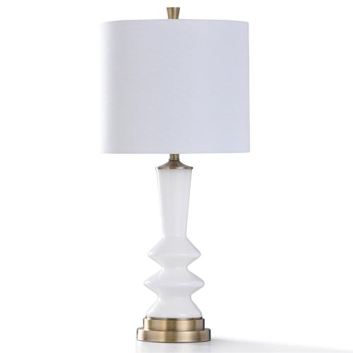 CUSANO GOLD TABLE LAMP  32in ht.  William Mangum Collection Glass White Pillar Body Table Lamp wit