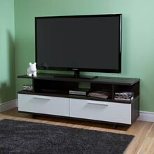 TV Stand with Drawers - Fits TVs Up to 60'' Wide - Gray Oak and Pure White