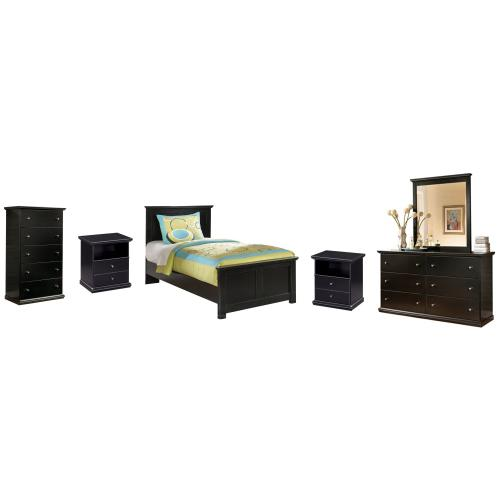 Ashley - Twin Panel Bed With Mirrored Dresser, Chest and 2 Nightstands