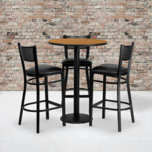 Product Image - 30'' Round Natural Laminate Table Set with 3 Grid Back Metal Barstools - Black Vinyl Seat