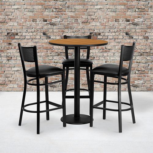 Flash Furniture - 30'' Round Natural Laminate Table Set with 3 Grid Back Metal Barstools - Black Vinyl Seat