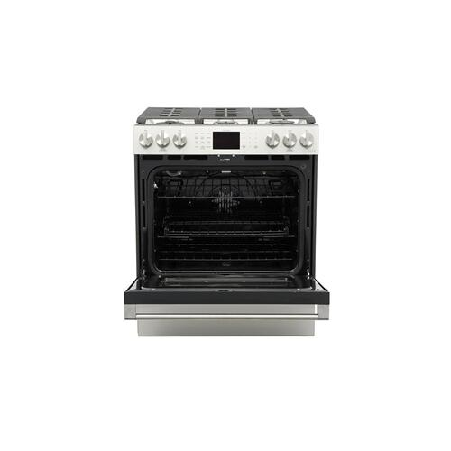 "Café 30"" Smart Slide-In, Front-Control, Gas Range with Convection Oven in Platinum Glass"