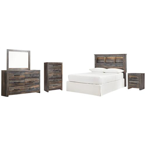 Full Bookcase Headboard With Mirrored Dresser, Chest and Nightstand