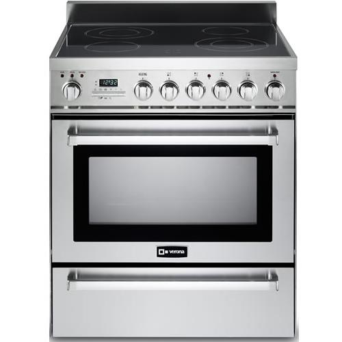 """Verona - Stainless Steel 30"""" Self-Cleaning Electric Range with Warming Drawer"""