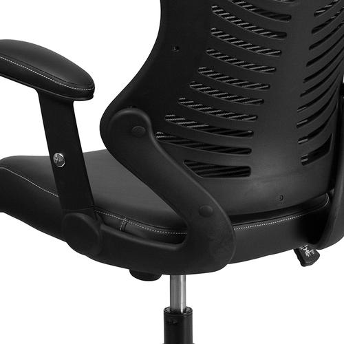 Gallery - High Back Designer Black Mesh Executive Swivel Ergonomic Office Chair with LeatherSoft Seat and Adjustable Arms