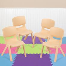 "4 Pack Natural Plastic Stackable School Chair with 10.5"" Seat Height [4-YU-YCX-003-NAT-GG]"
