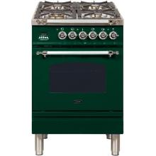 See Details - Nostalgie 24 Inch Dual Fuel Natural Gas Freestanding Range in Emerald Green with Chrome Trim