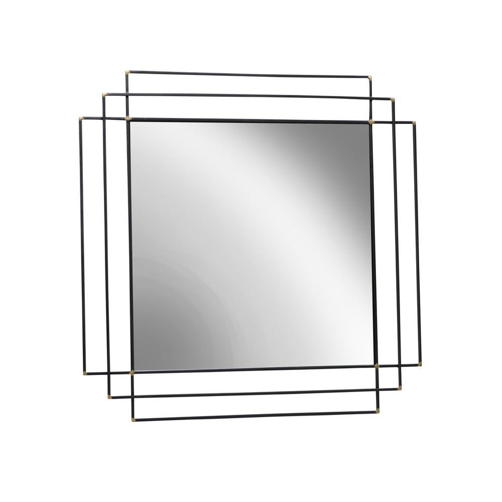 """Metal 32"""" Square Mirror, Black Wb"""