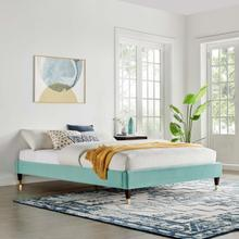 Harlow Queen Performance Velvet Platform Bed Frame in Mint