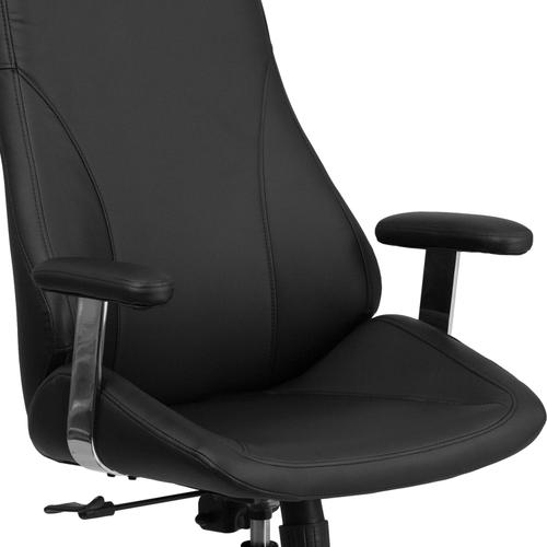 Gallery - High Back Black LeatherSoft Smooth Upholstered Executive Swivel Office Chair with Arms