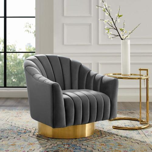 Buoyant Vertical Channel Tufted Accent Lounge Performance Velvet Swivel Chair in Gray