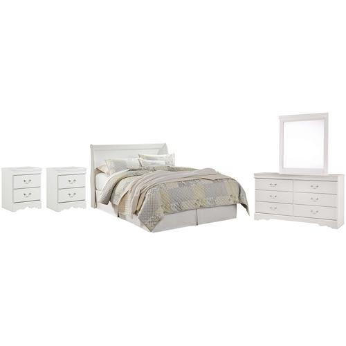 Queen Sleigh Headboard With Mirrored Dresser and 2 Nightstands