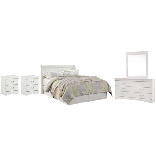 See Details - Queen Sleigh Headboard With Mirrored Dresser and 2 Nightstands