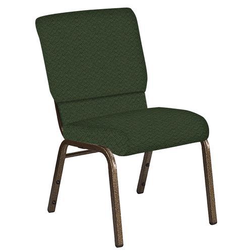 Flash Furniture - 18.5''W Church Chair in Fiji Emerald Fabric - Gold Vein Frame