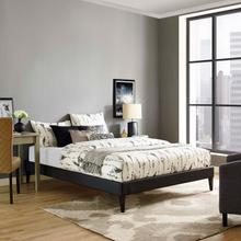 View Product - Tessie Queen Vinyl Bed Frame with Squared Tapered Legs in Black