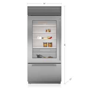 "Subzero36"" Classic Over-and-Under Refrigerator/Freezer with Glass Door"