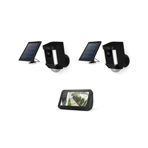 2-Pack Spotlight Cam Solar with Echo Show 5 - Black