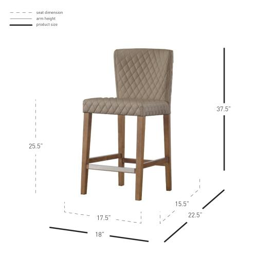 Albie KD Diamond Stitching PU Counter Stool, Danburry Dune