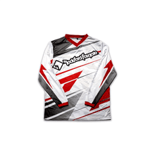 White Mesh Jersey with Red and Black Racing Design (2XL)