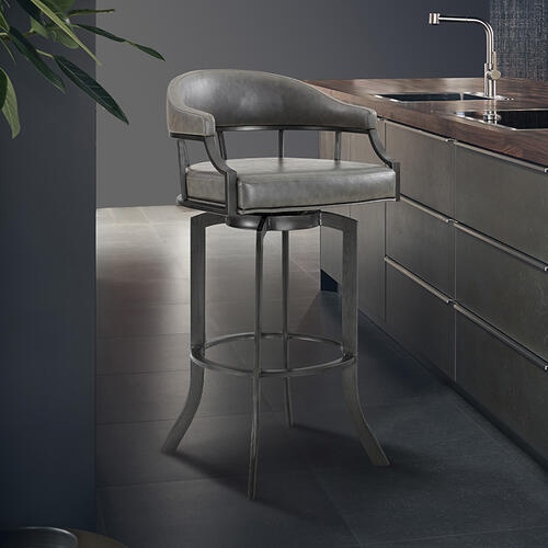 """Edy Swivel 26"""" Mineral Finish and Grey Faux Leather Bar Stool"""
