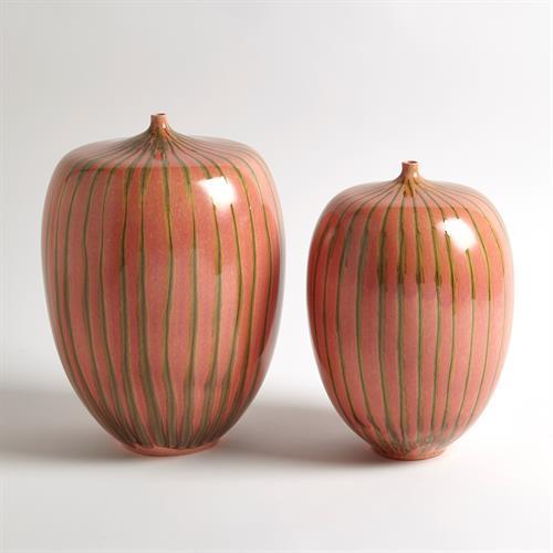 Striped Melon Vase-Sm