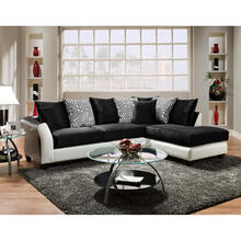 Riverstone Implosion Black Velvet Sectional with Black & White Frame