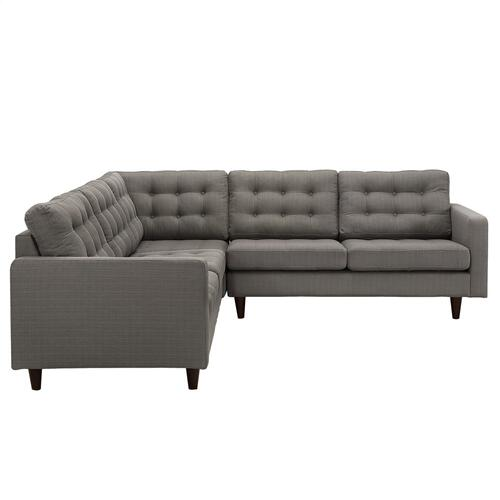 Modway - Empress 3 Piece Upholstered Fabric Sectional Sofa Set in Granite
