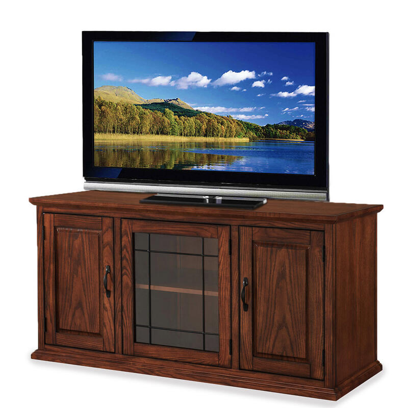 """See Details - Oak Leaded Glass 50"""" TV Stand #80350"""