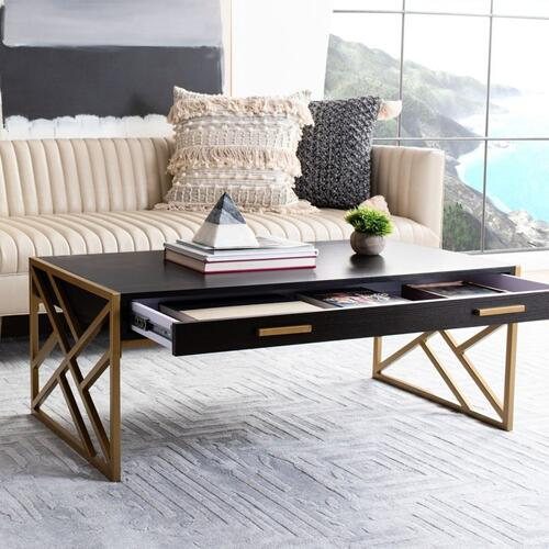 Safavieh - Elaine 2 Drawer Coffee Table - Black / Gold