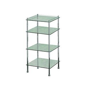 Essentials Freestanding Four Tier Glass Shelf Unit, Square Product Image