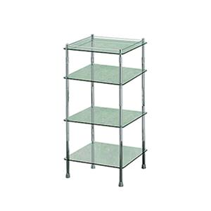 Essentials Freestanding Four Tier Glass Shelf Unit, Square