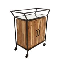 "Metal/wood 33""h 2-door Bar Cart W/ Mirror, Brown"