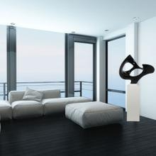 View Product - Abstract Mask Floor Sculpture In Black // White Base