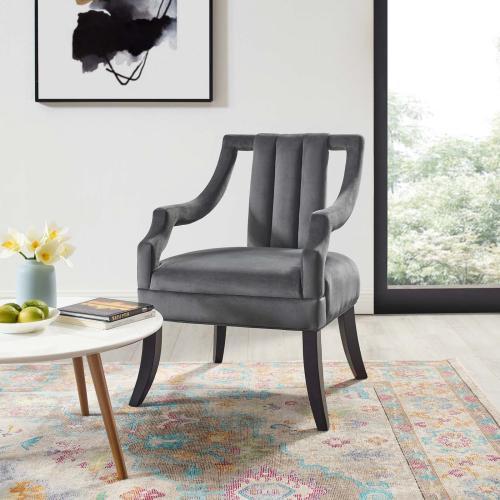 Modway - Harken Performance Velvet Accent Chair in Gray