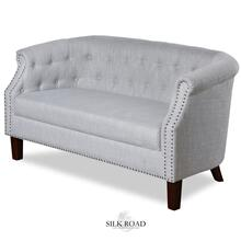 NATURAL LINEN SETTEE  30in X 56in  Traditional Tufted Natural Linen Settee with Nail head Trim and