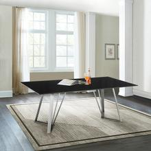 Cressida Glass and Stainless Steel Rectangular Dining Room Table
