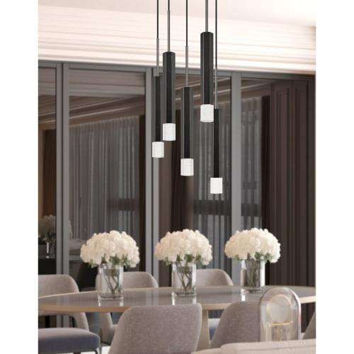 Troy integrated LED Dimmable Hexagon Aluminum Casted 5 Lights Pendant With Glass Diffuser