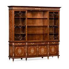 Burl & mother of pearl large glazed bookcase