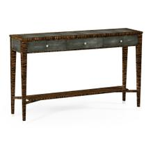 Faux Macassar Ebony & Anthracite Shagreen Console